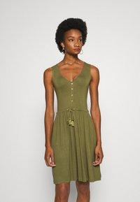 Anna Field - BASIC JERSEYKLEID - Jersey dress - olive night - 0
