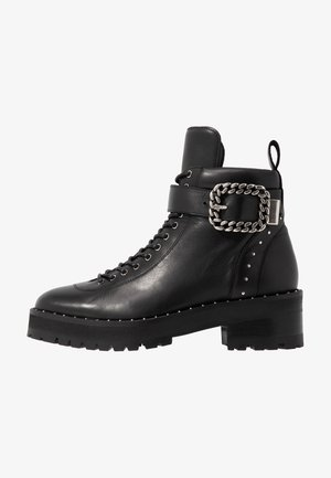 BUCKLE BOOT - Ankle boots - black/silver