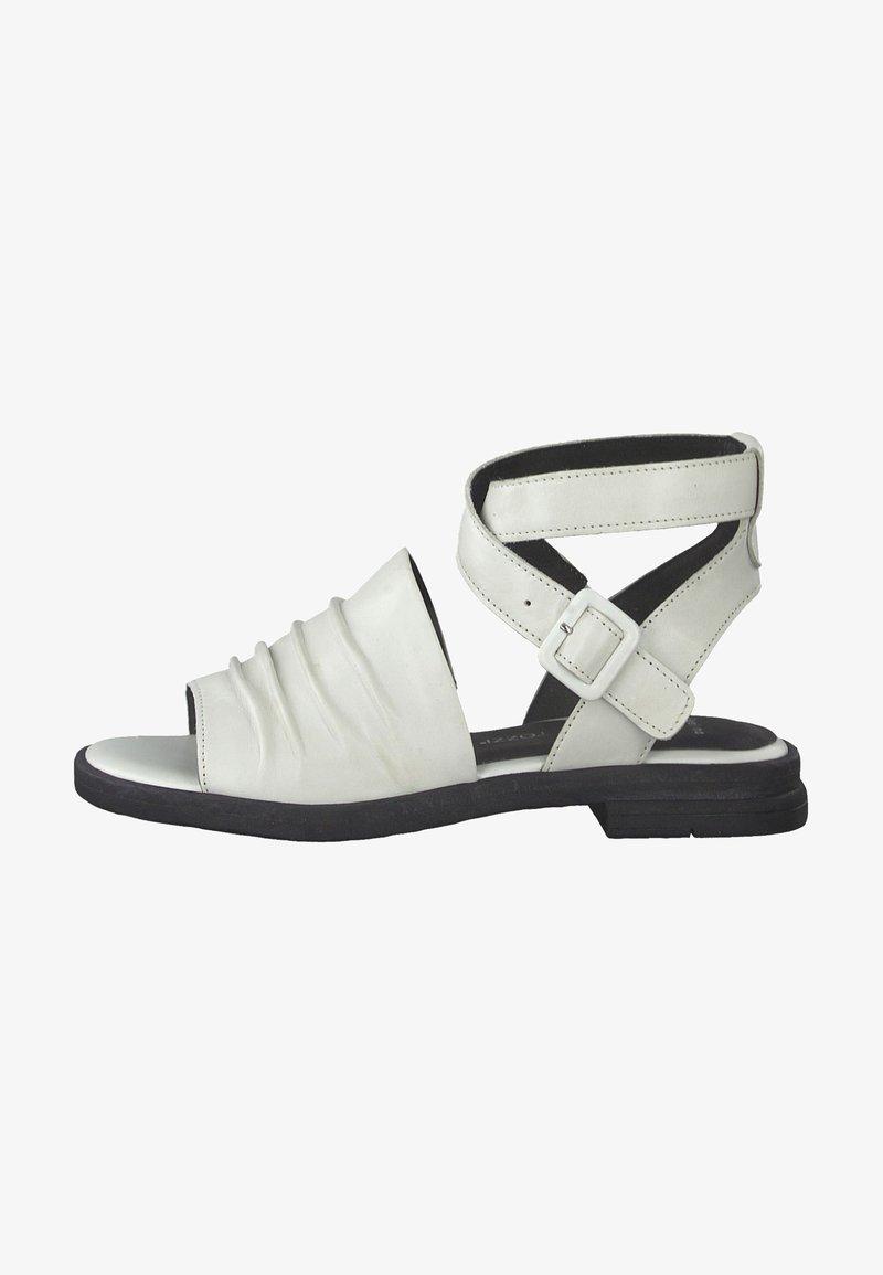 Marco Tozzi - Ankle cuff sandals - white/black