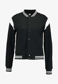 Urban Classics - LADIES INSET COLLEGE JACKET - Mikina na zip - black/white - 4