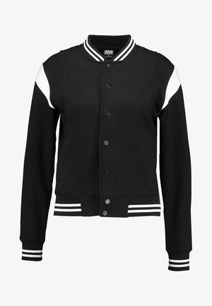 LADIES INSET COLLEGE JACKET - Felpa aperta - black/white