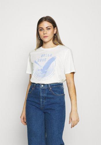 IDA TEE - Print T-shirt - offwhite/blue