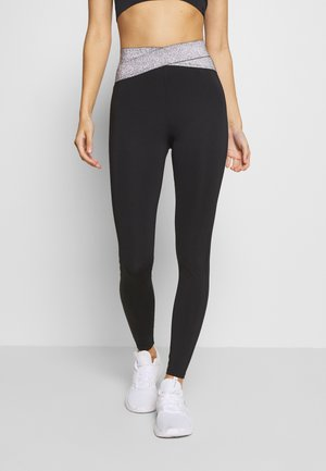 HIGH WAIST BANDED LEGGING - Tights - metallic grey