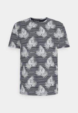 SUMMER LEAF PATTERN - Print T-shirt - navy/white