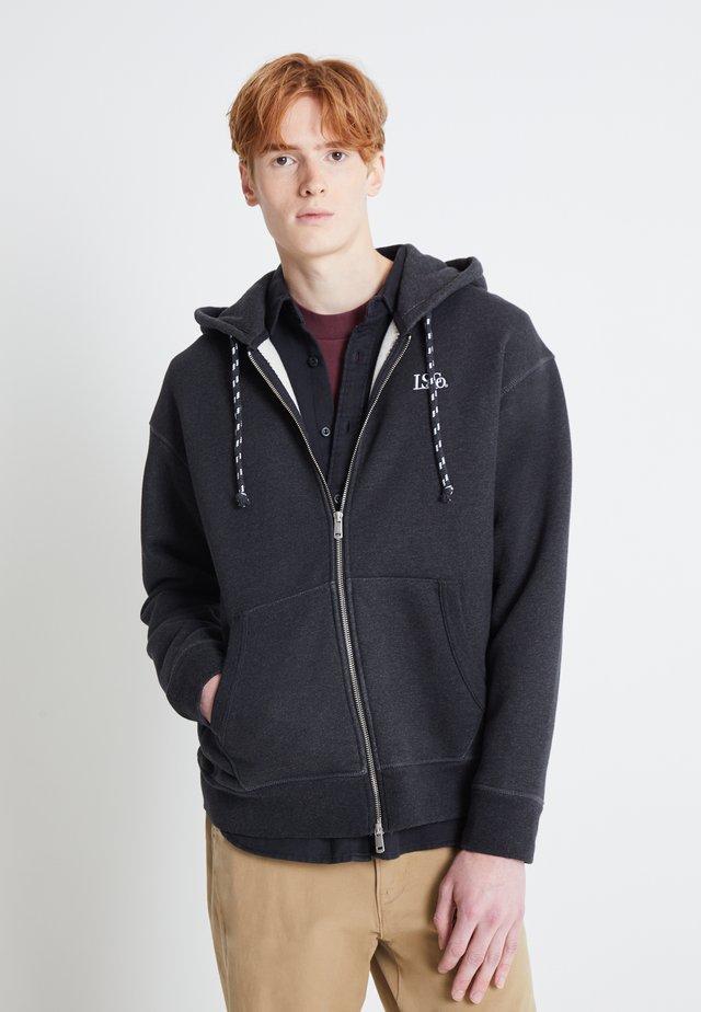 PREMIUM HEAVYWEIGHT ZIP - veste en sweat zippée - black bird heather