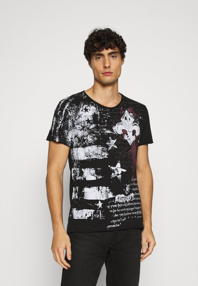 INDICATE ROUND - T-shirt con stampa - black