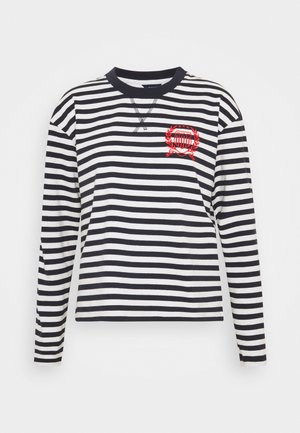 CREST STRIPED TEE - Topper langermet - evening blue