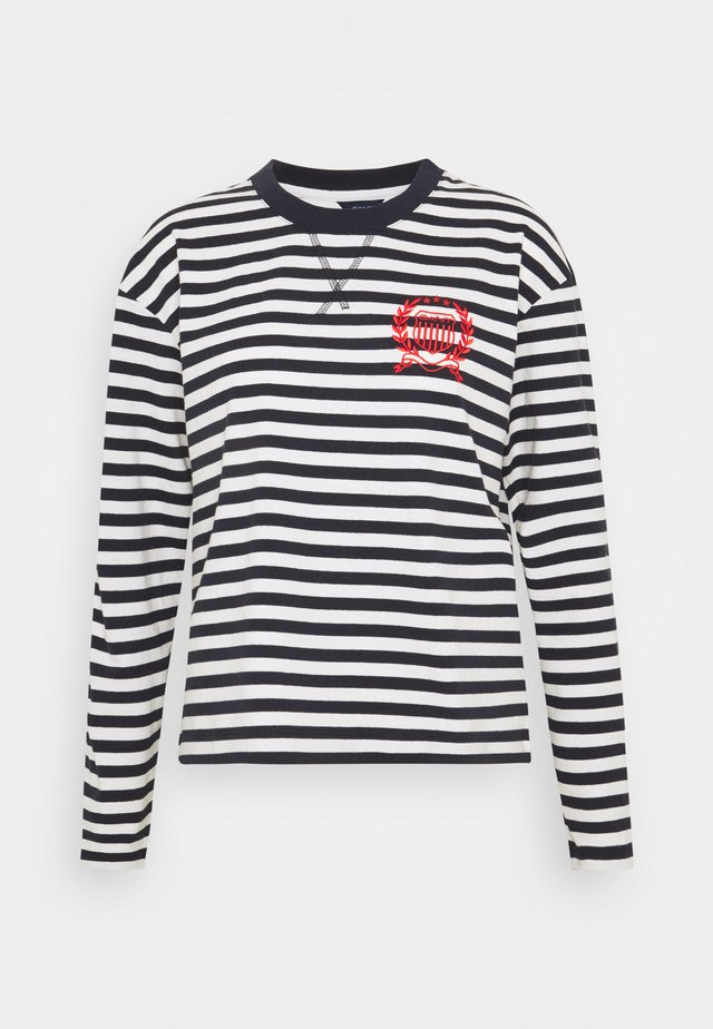 CREST STRIPED TEE - Long sleeved top - evening blue