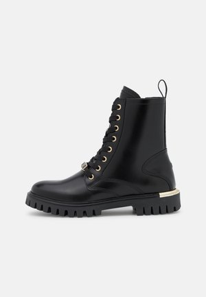 POLISHED LACE UP BOOT - Schnürstiefelette - black