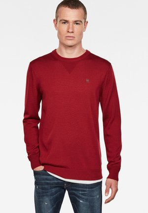 PREMIUM BASIC ROUND LONG SLEEVE - Long sleeved top - dry red