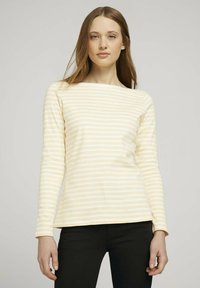 TOM TAILOR DENIM - CONTRAST NECK - Long sleeved top - white yellow stripe - 0