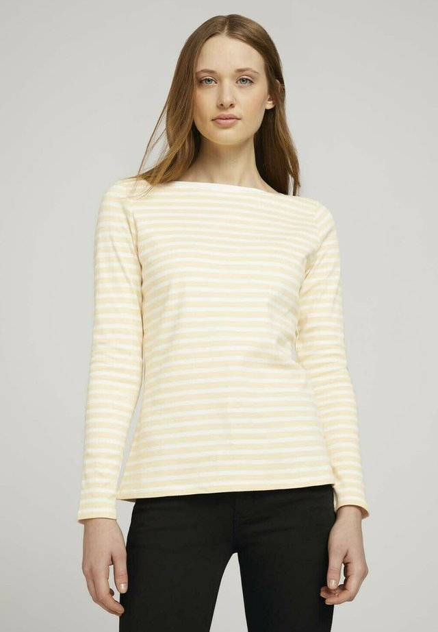CONTRAST NECK - Long sleeved top - white yellow stripe
