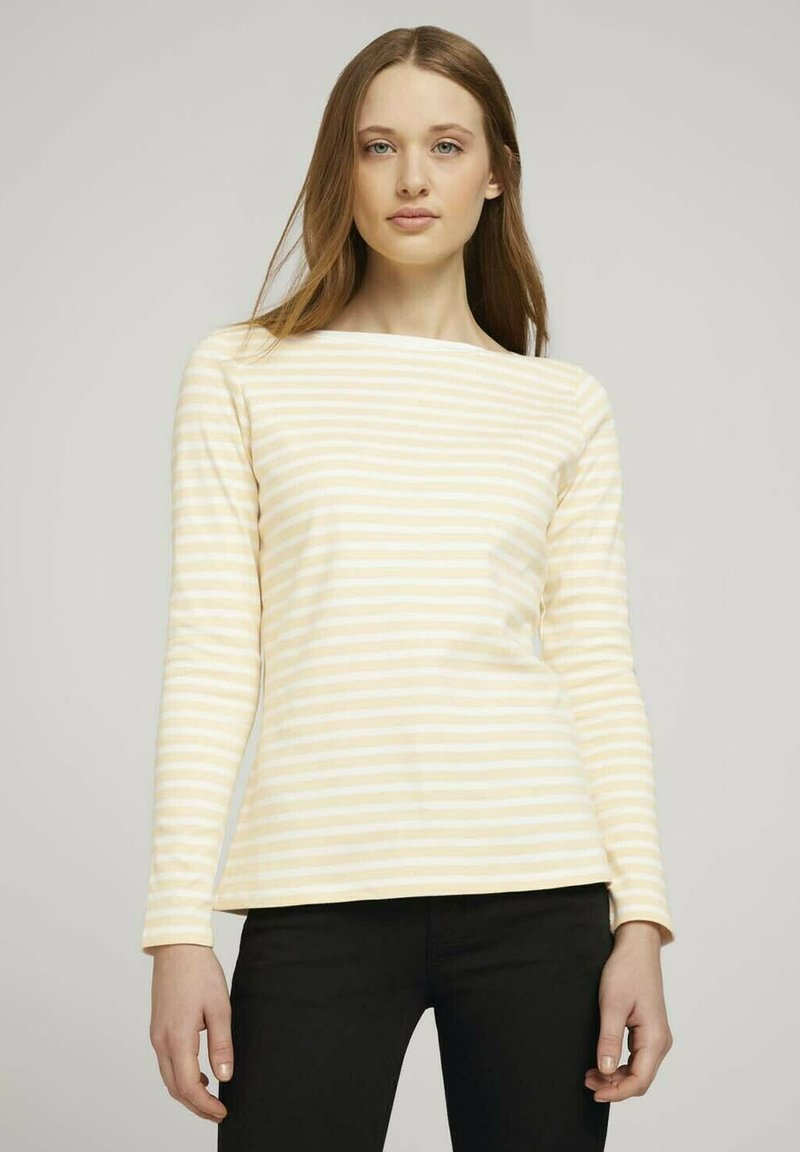 TOM TAILOR DENIM - CONTRAST NECK - Long sleeved top - white yellow stripe