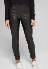 JOOP! - SARA - Leather trousers - black - 5