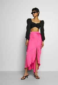Who What Wear - ASYMMETRIC SLIP SKIRT - Maxi skirt - doll pink - 1