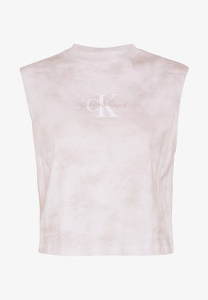 CROPPED TIE DYE MUSCLE TEE - Topper - plaza taupe