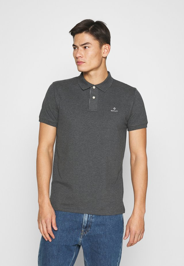 CONTRAST COLLAR RUGGER - Poloshirts - antracit melange