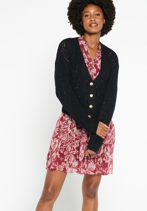 OPEN-STITCH WITH BUTTONS - Cardigan - black