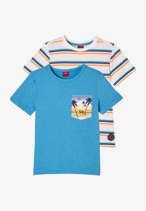 Print T-shirt - turquoise/offwhite stripes