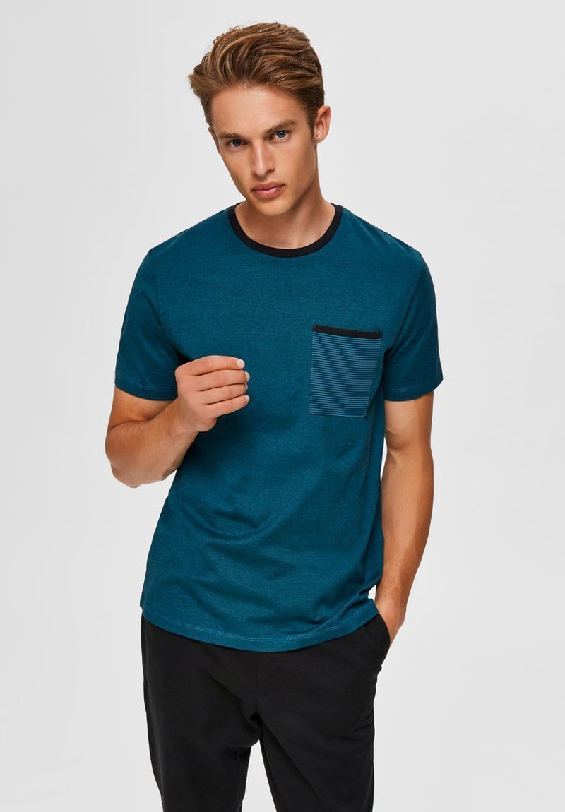 Selected Homme - T-shirt imprimé - teal