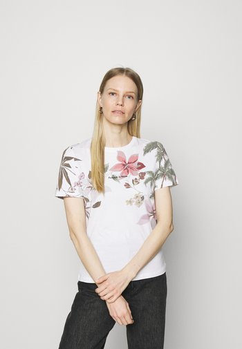 TEE CROSSED OPEN BACK - T-shirts med print - white