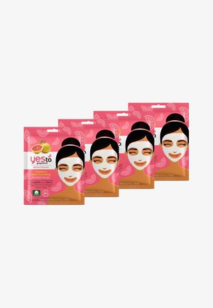YES TO GRAPEFRUIT VITAMIN C GLOW BOOSTING PAPER MASK 4 PACK - Gesichtsmaske - -