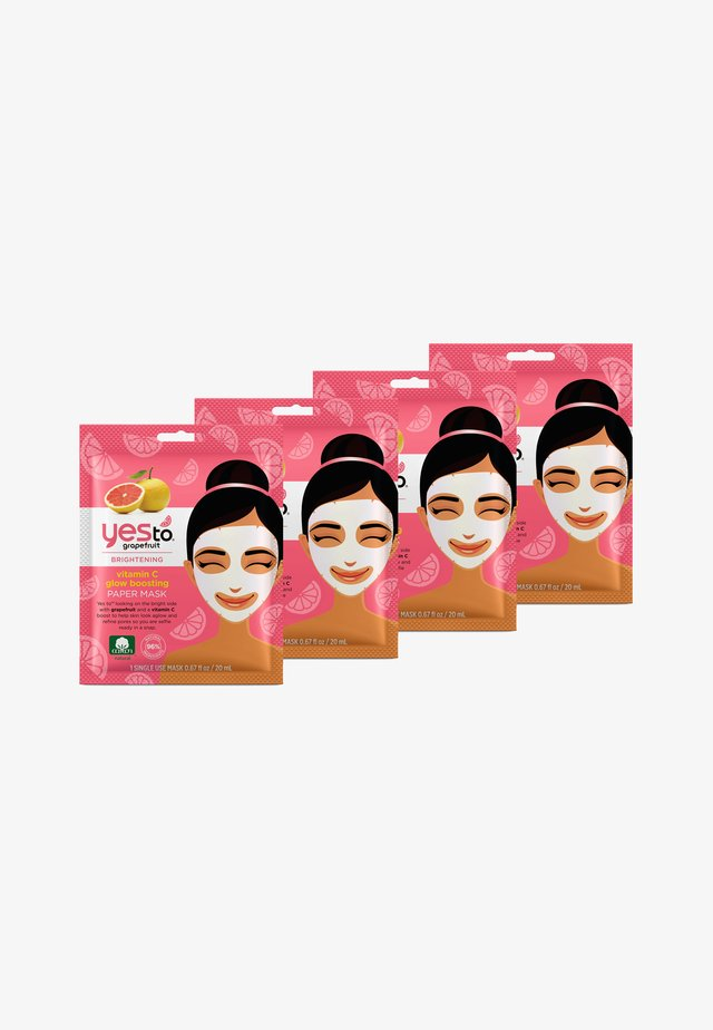 YES TO GRAPEFRUIT VITAMIN C GLOW BOOSTING PAPER MASK 4 PACK - Masker - -