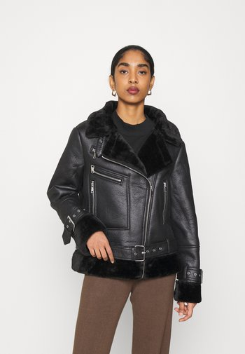 PREMIUM ZIP DETAIL AVIATOR JACKET - Winter jacket - black