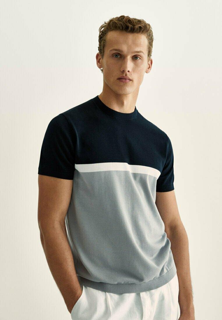 Massimo Dutti - Print T-shirt - dark blue