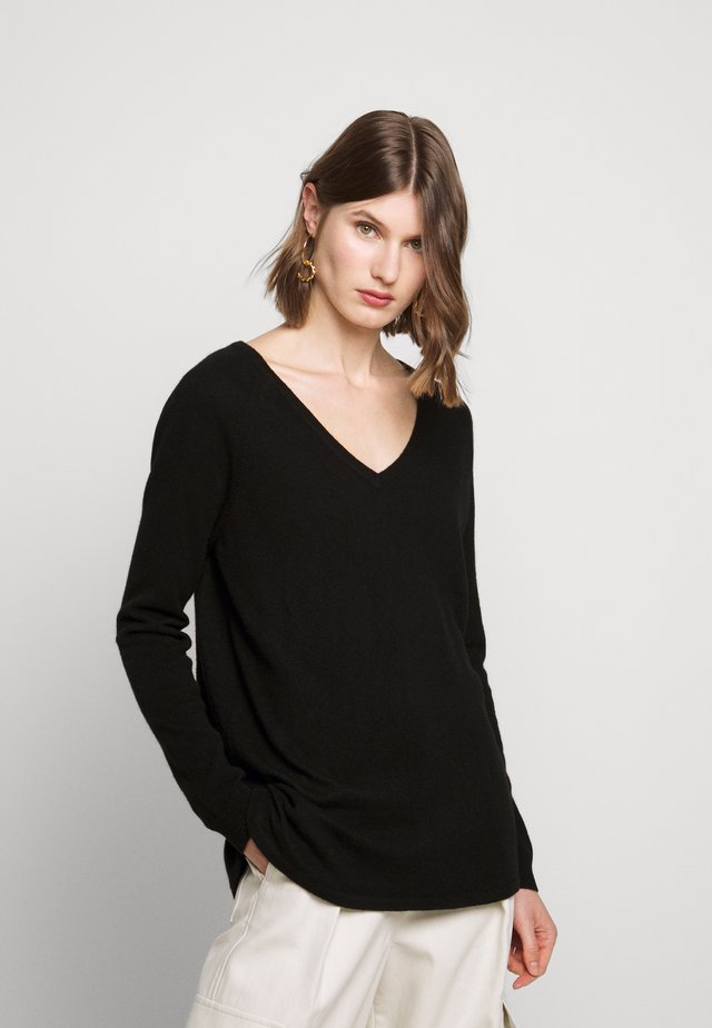 THE V NECK - Stickad tröja - black