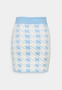 Glamorous - HOUNDSTOOTH KNIT SKIRT - Mini skirt - blue cream - 1