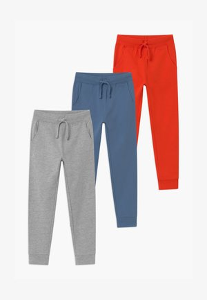 BASIC BOYS 3 PACK - Tracksuit bottoms - light grey/red/blue