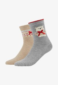 Pretty Polly - POLAR BEAR SOCK/FAIRISLE SOCK - Socks - grey mix/oatmeal mix