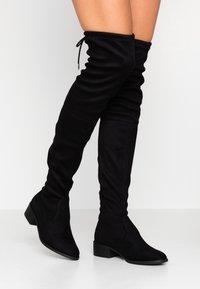 Dorothy Perkins - TRALLALA TIE BACK LONG STRETCH BOOT - Kozačky nad kolena - black - 0