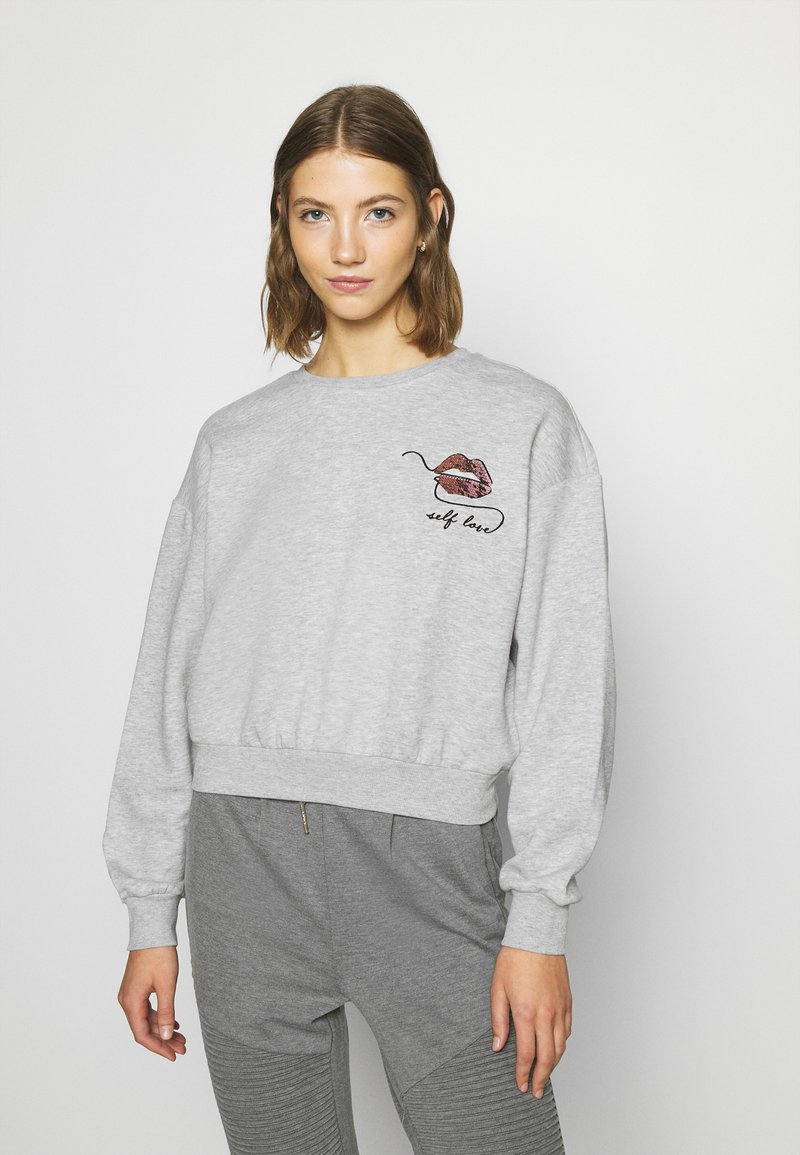 ONLY - ONLZITA LIFE SHORT LIPS BOX - Sweatshirt - light grey melange