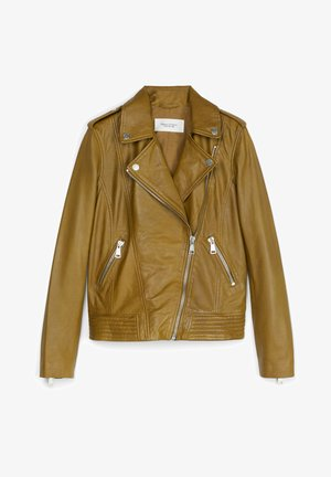 PERFECTO - Leather jacket - washed pea