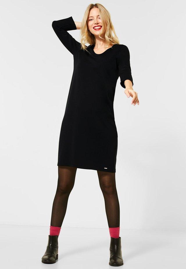 MIT TAPE-DETAIL - Jerseykleid - schwarz