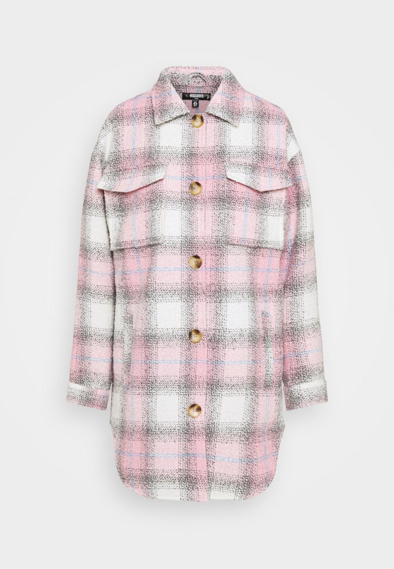 Missguided Tall - OVERSIZED CHECK SHACKET - Klassinen takki - pink