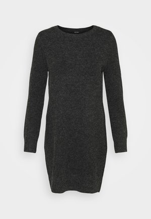 VMDOFFY O NECK DRESS PETIT - Strikkjoler - black/melange