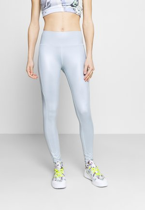 HIGH WAIST WETLOOK LEGGIGNS - Medias - blue fog
