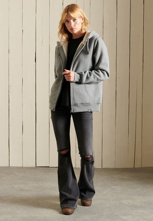 BORG LINED - Zip-up sweatshirt - rich charcoal marl