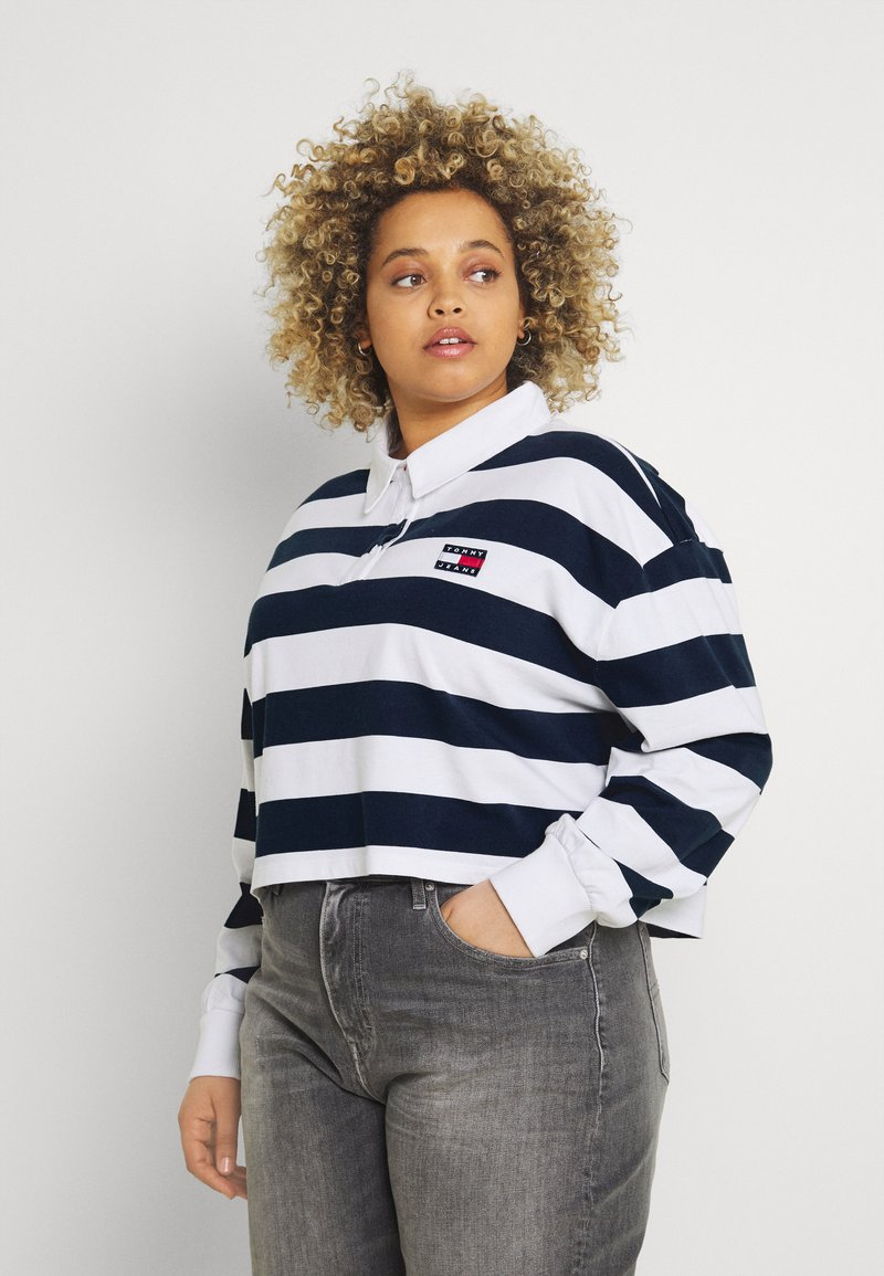 Tommy Jeans Curve - STRIPED RUGBY - Polo shirt - twilight navy