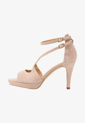 LEATHER HEELED SANDALS - High Heel Sandalette - nude