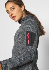 CMP - WOMAN JACKET FIX HOOD - Fleece jacket - nero melange/red fluo - 4