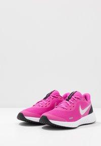 Nike Performance - REVOLUTION 5 UNISEX - Neutral running shoes - active fuchsia/metallic silver/black - 3