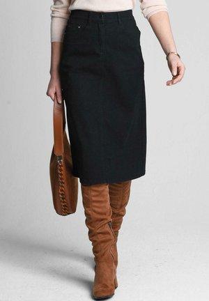 MIT GESÄSSTASCHEN - Denim skirt - black
