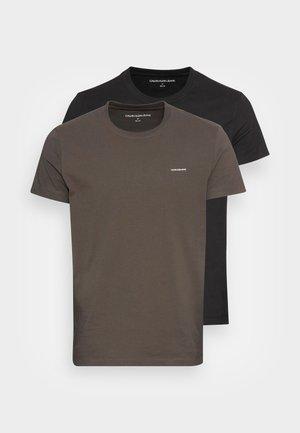 SLIM 2 PACK - T-shirt - bas - black olive/black