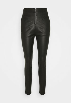 PALMER - Leather trousers - black