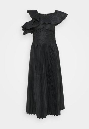 ONE SHOULDER PLEATED SKIRT DRESS - Vestido de cóctel - black