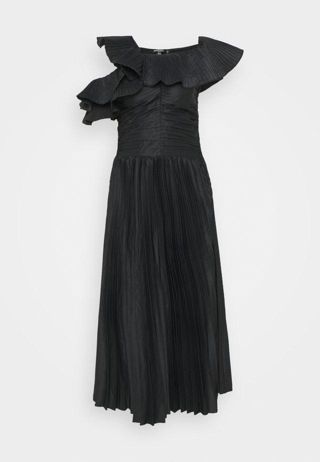 ONE SHOULDER PLEATED SKIRT DRESS - Robe de soirée - black